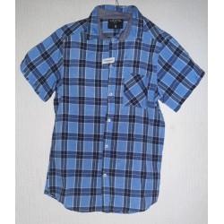 Men's shirt dark blue checked