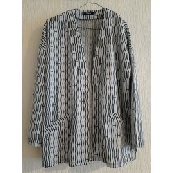 Cardigan black / white striped