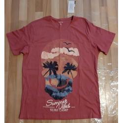 Men's T-shirt fuchsia palm...