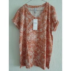 Blouse orange / white