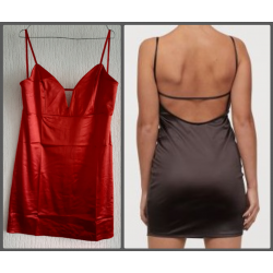 Ladies dress shiny dark red